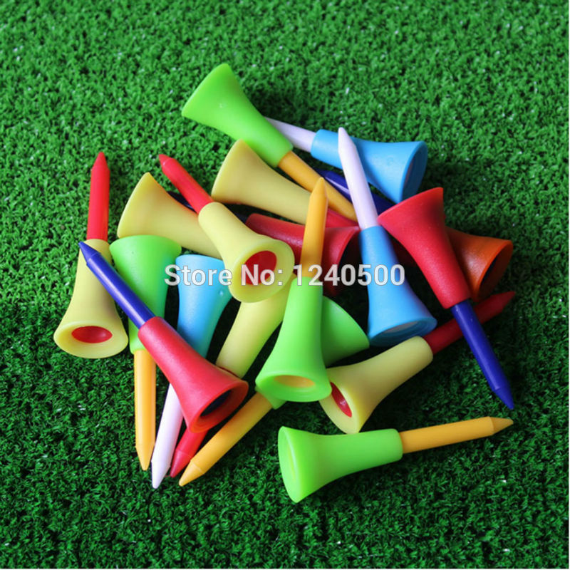 2017 New Golf Tools 50pcs 1 4/2 56mm Golf Tees Rubber Cushion Top Golf Equipment Muticolor