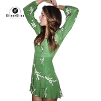 Женские мини зеленые платья Повседневное 2018 с длинным рукавом V шеи платья шелковые платья для лета