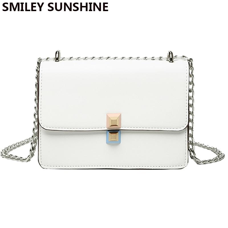 SMILEY SUNSHINE famous brand women messenger bags small chain crossbody bags female luxury shoulder bag girls white handbag все цены