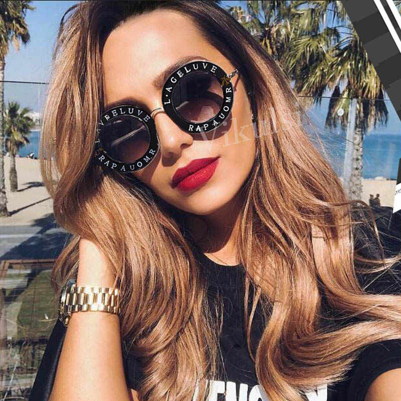 c988dd7d82d Round Retro Sunglasses Women Letter Little Bee Sun Glasses For Female Male  Brand Designer Fashion Sunglass