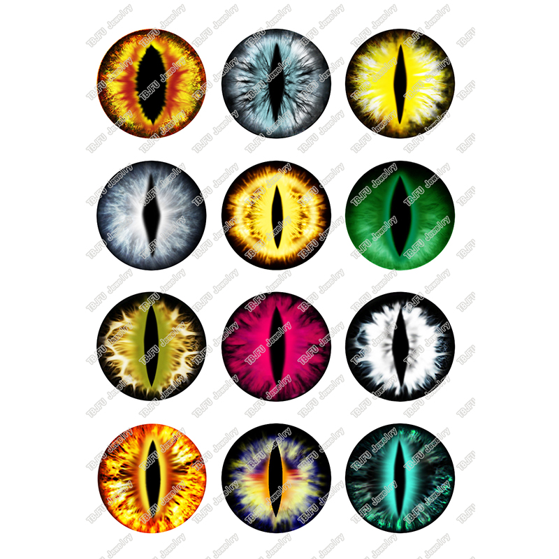 24pcs/lot Round Dome Dragon Eye Photo Glass Cabochon 10mm To 25mm Diy Jewelry Findings for Pendants Earrings Making T103(China)