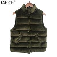 Short Velvet Vest Women Single Breasted Vest Female Stand Collar Womens Waist Coat Sleeveless Pockets Army Green Gray Black