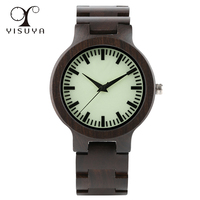 Creative Wooden Quartz Watch With Wood Band Lightweight Vintage Wooden Men Analog Luminous Dial Watches Xmas