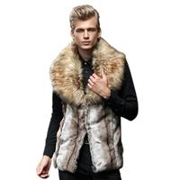 Men Faux Fur Vest Jacket Sleeveless Winter Body Warm Coat Long Waistcoat Gilet TW