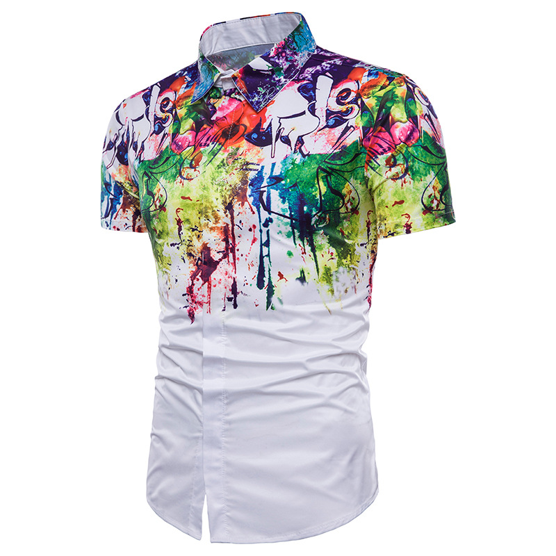 Mens Splash Ink Printed 3D Floral Dress Shirts Summer New Slim Fit Short Sleeve Camisa Masculina Casual Brand Men Shirt 3XL in Casual Shirts from Men 39 s Clothing