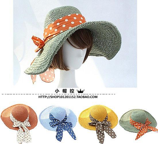 Verão mulheres palha chapéus de sol dobrável grande Brim disquete chapéus de praia pontilhada banda frete grátis SCCDS-043