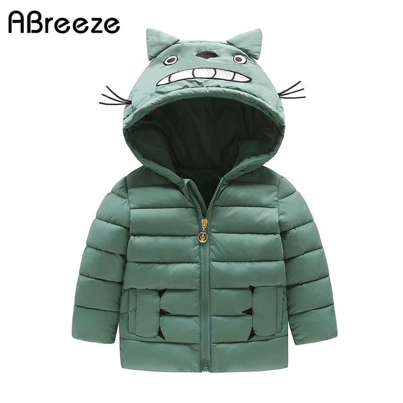 2017 Winter children hooded clothing fashion cartoon cat style kids down for boys & girls 2-9Y zipper jackets coats unisex 2017 new winter sytle children clothing fashion cartoon print girls down & parkas 1 6y hooded children jackets coats for girls