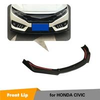 PP Carbon Fiber Look 3PCS/SET Front Lip Spoiler Bumper Chin Apron for Honda For Civic 10th 2016 2018