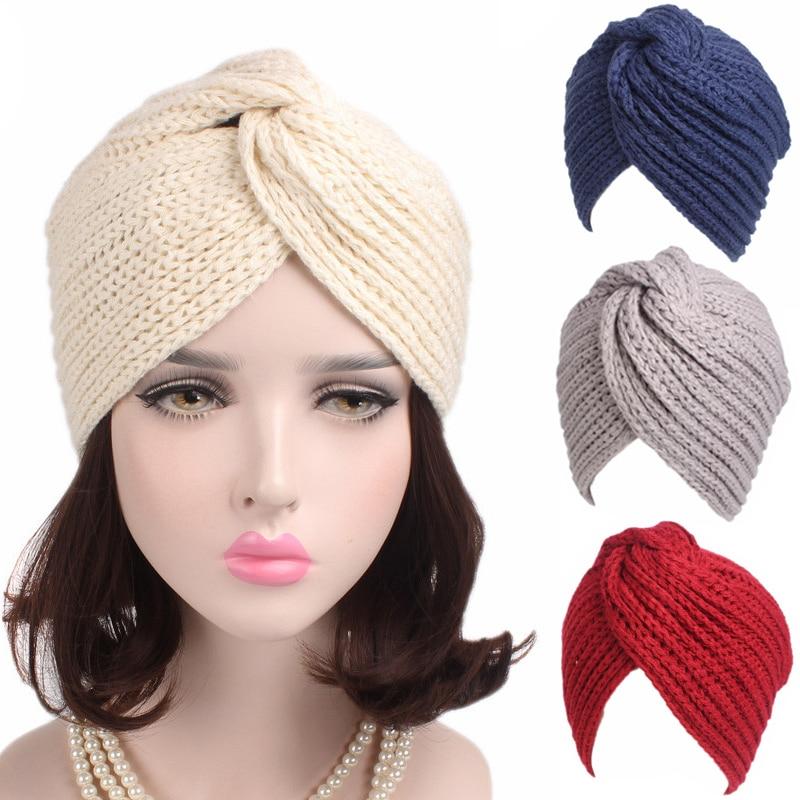 Muslim Winter Hat Warm Knit Cap Beanie Sleep Chemo Turban Headwear Cancer  Patients 986d1ec965ba