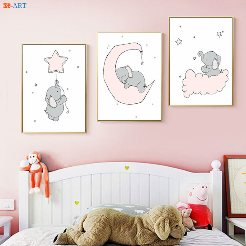 Nursery Prints Elephant Moon and Stars Poster Canvas ...