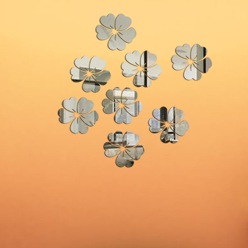 8pcs/set DIY Hibiscus Flower Mirror Decorative Wall Sticker Home ...