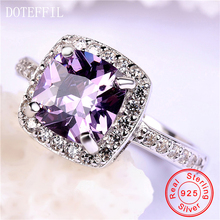 DOTEFFIL 925 Sterling Silver Filled Charm Birthstone Rings Women Fashion Jewelry Purple Zircon Ring Fashion Jewelry authentic100% 925 sterling silver austria zircon rings charm l women luxury sterling silver valentine s day gift jewelry 18167