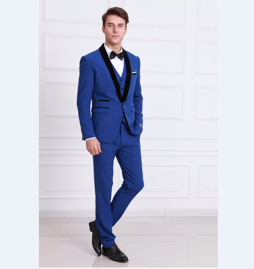 Online Get Cheap Men Wedding Suits Black with Royal Blue ...