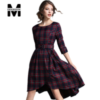 Merderheow 2017 Spring Fashion European Style Women Elegant Slim Long Dress Top Quality Plaid Print Asymmetrical