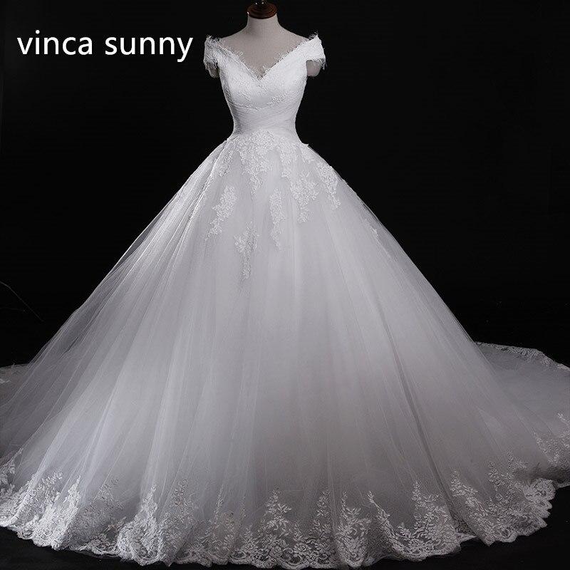 vinca sunny vestido de novia fotos reales Ball Gown White Wedding Dresses Floor Length robe de mariage vestido de noiva 2016