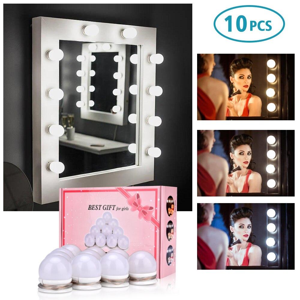 3 Colors LED Bulbs Mirror Hollywood Vanity Makeup Mirror Lights LED Lamp Kit Lens Headlight LED