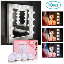 3 colores bombillas LED espejo Hollywood Vanity maquillaje espejo luces LED Kit de lámpara lente faro LED BOMBILLAS Kit DIY maquillaje lámpara Luz(China)