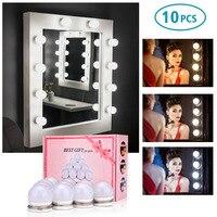 3 Colors LED Bulbs Mirror Hollywood Vanity Makeup Mirror Lights LED Lamp Kit Lens Headlight LED Bulbs Kit DIY Makeup Lamp Light