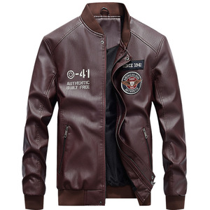 Image 3 - Men Baseball Jacket Embroidered Casual PU Leather Coats Winter Mens Slim Fit Warm Fleece Pilot Military Jackets Stand Collar