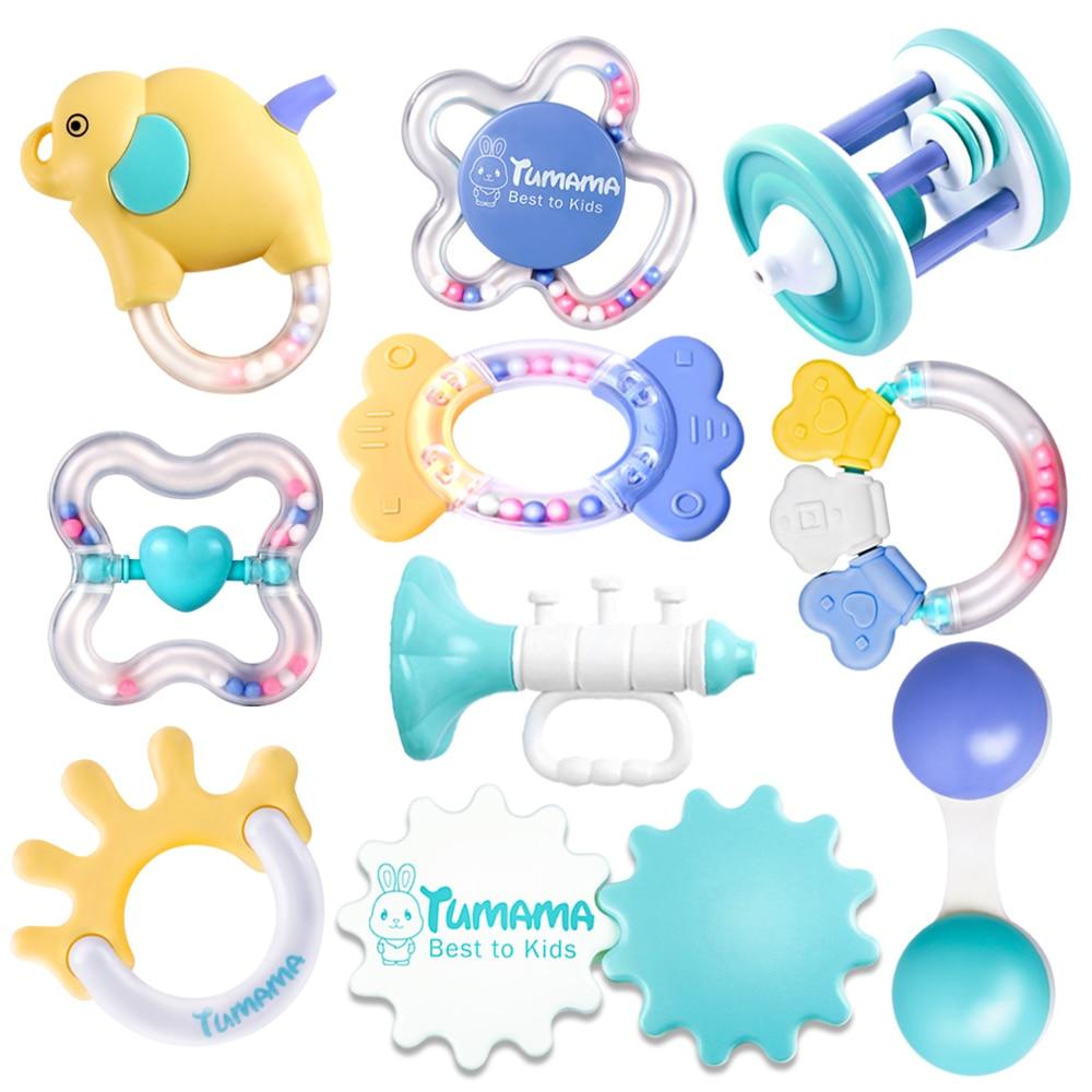 Tumama 10pcs Baby Rattles Educational Baby Toys 0-12 Months Teether Music Hand Shake Bed Toys Newborn Plastic Animal Rattles Toy цена