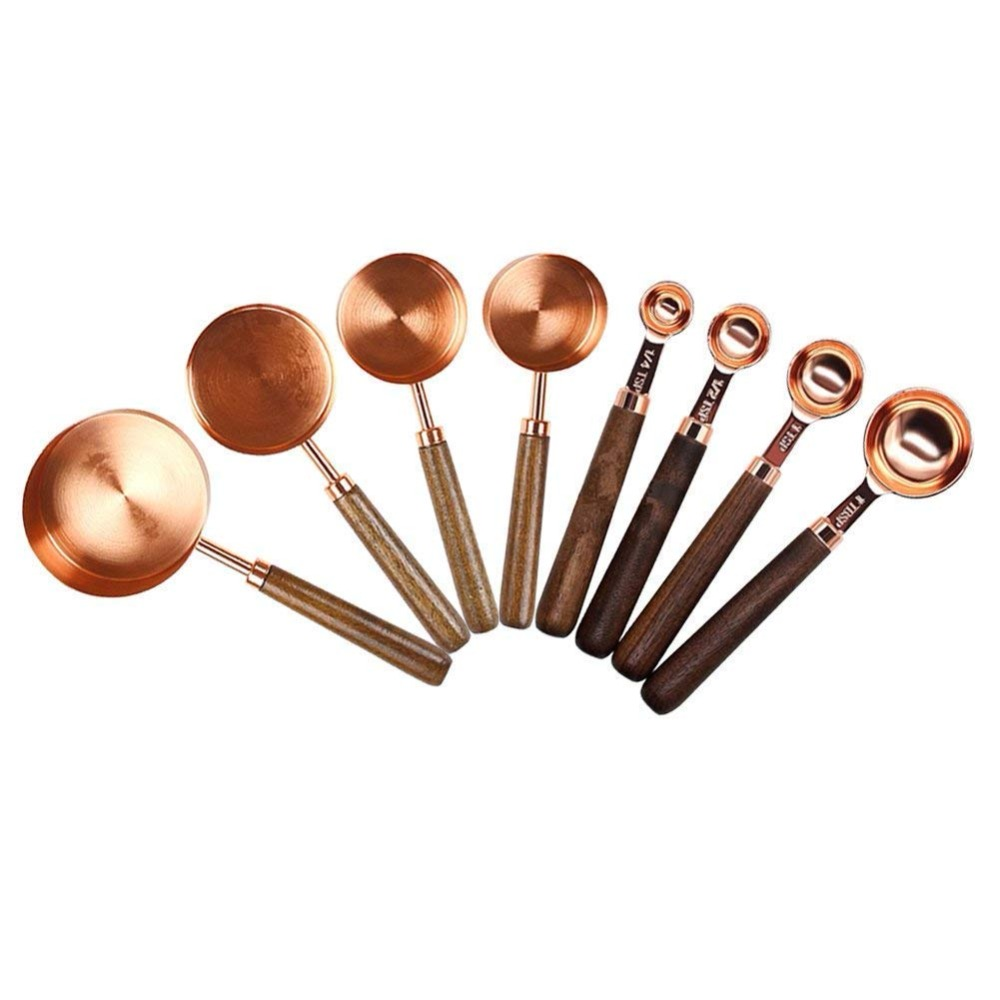 Realand Rose Gold 4/8pcs Copper Stainless Steel Measuring Cups And Spoons With Wood Handle For Liquid And Dry Ingredients