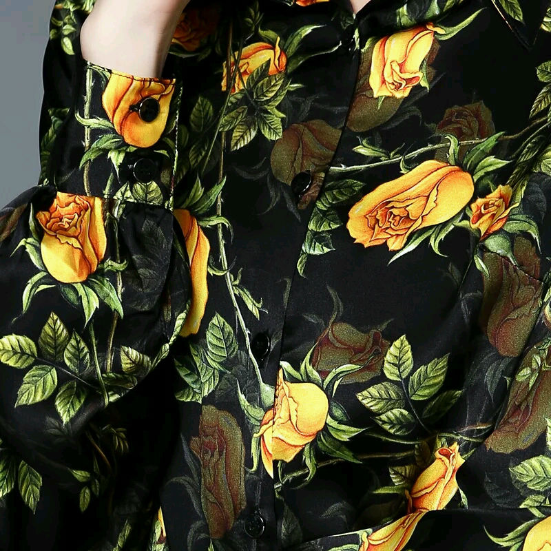 Botones Nuevo Blusa 2018 Blusas Femininasstretch Larga Real Mujer Night Manga Satén Tamaño Silk Oficina 8686 Floral Seda Plus Imprimir qg6PZBwx