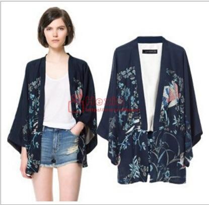 2016 new Win-win horse women blouse shirt <font><b>phoenix</b></font> embroidery printing cardigan Chiffon Blouse