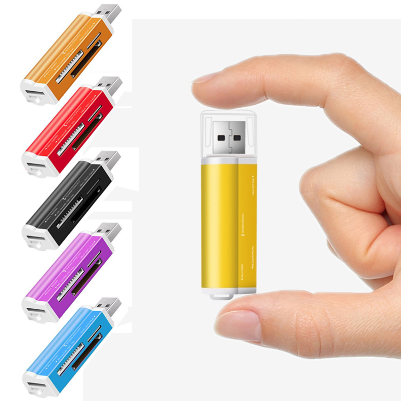 Hot-sale Card Reader Tiny USB 2.0 All in 1 Multi Memory Card Reader Adapter For Micro SD SDHC TF M2 MMC Gifts