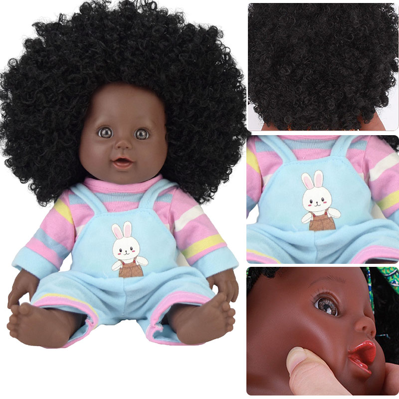 afro hair black dolls for girls   toys fashion 30cm  live reborn black doll reborn real silicone poupee USA baby doll look real kayak suit