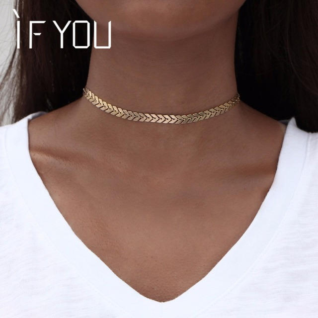 IF YOU Fashion Short Arrow Leaf Choker Necklaces Gold Color Trendy African Jewel