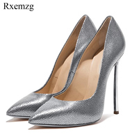 Rxemzg plus size 33 45 women pointed toe slip on pumps sexy shallow wedding party shoes ladies metal stiletto thin heels pumps