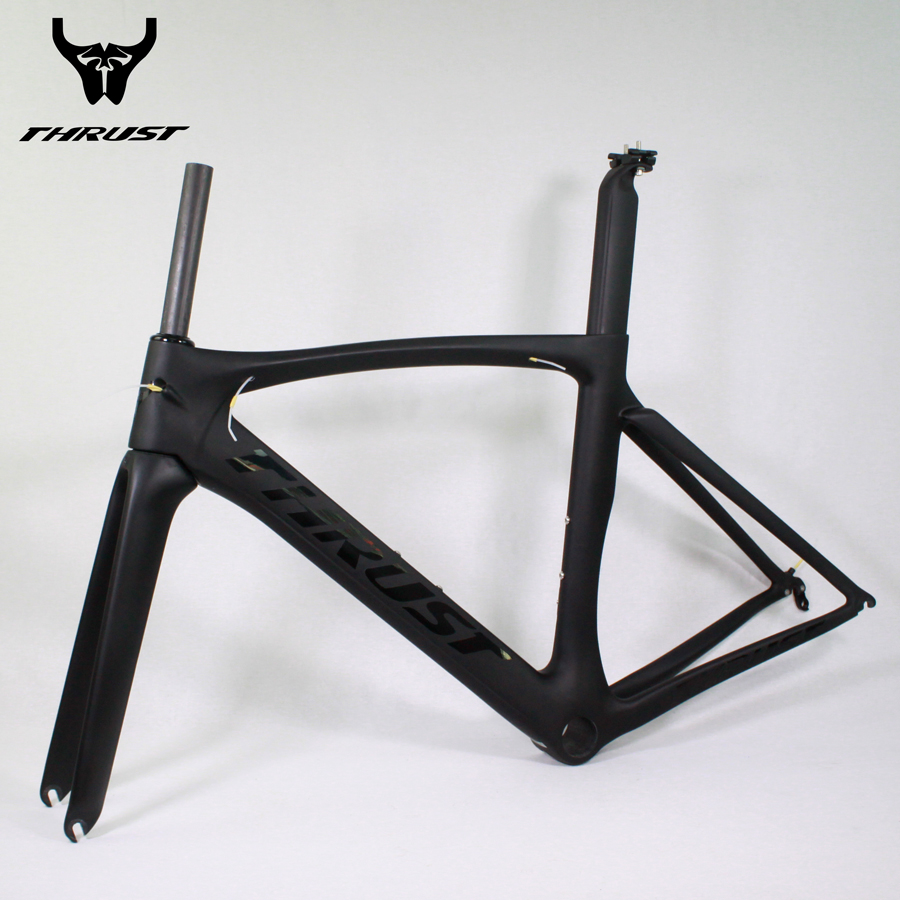 THRUST Bicycle Frame BoB Carbon Road Frame 49 52 54 56 58cm Black Matte Logo Glossy Carbon Frame Road Bicycle 53cm 55cm 58cm fixed gear bike frame matte black bike frame fixie bicycle frame aluminum alloy frame with carbon fork