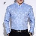 New Autumn Winter ZIYU Brand Long Sleeve Floral Print Lapel Shirt Camisa Masculina Slim Fit Casual Shirts Dress Shirts CZ011