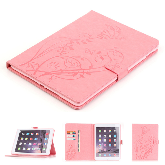 Girl Lovely Pink Beautiful Print Flower Butterfly PU Leather Case for Apple iPad Air 2 /6 Smart Cover Wallet Card Slot Stand