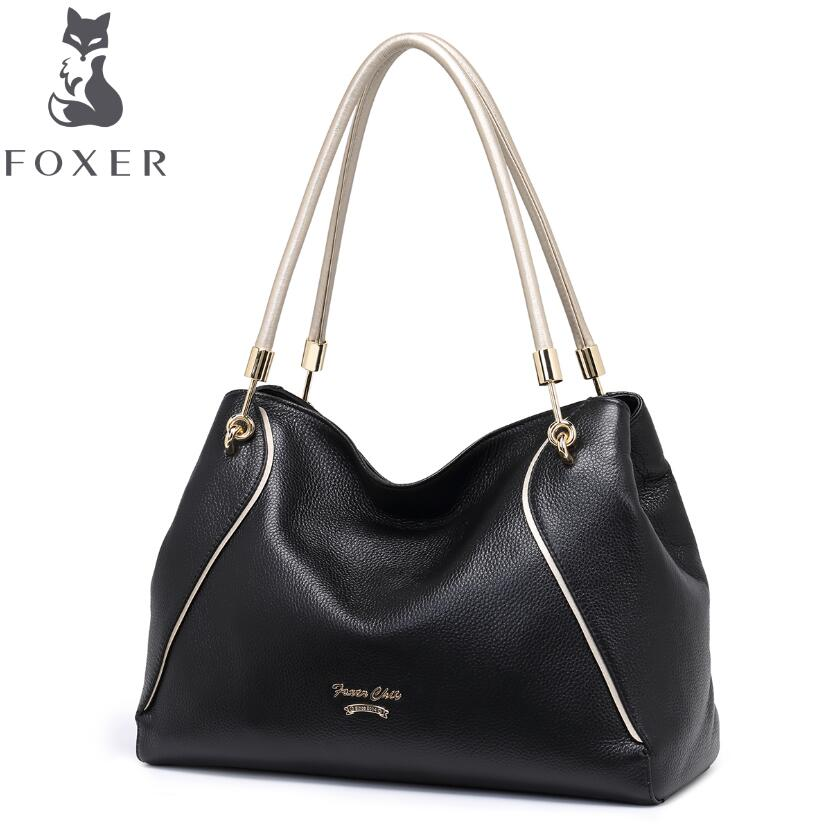 free delivery Cow leather handbag  FOXER / new shoulder Messenger bag Simple wild handbag Large capacity commute package cow leather handbag free delivery 2016 fall fashion weave pattern small square package stylish simplicity messenger bag