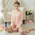 2016 Новых Женщин Молоко Шелковые Пижамы Хлопка Наборы Пижамы Мягкие Пижамы Женщины Ночная Рубашка Мода Стиль Пижамы Наборы Пижамы Femme