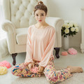 2016 Novas Mulheres Conjuntos de Pijama Sleepwear Algodão De Seda Leite Macio Pijamas Mulheres Camisola Estilo de Moda Pijama Define Pijama Femme
