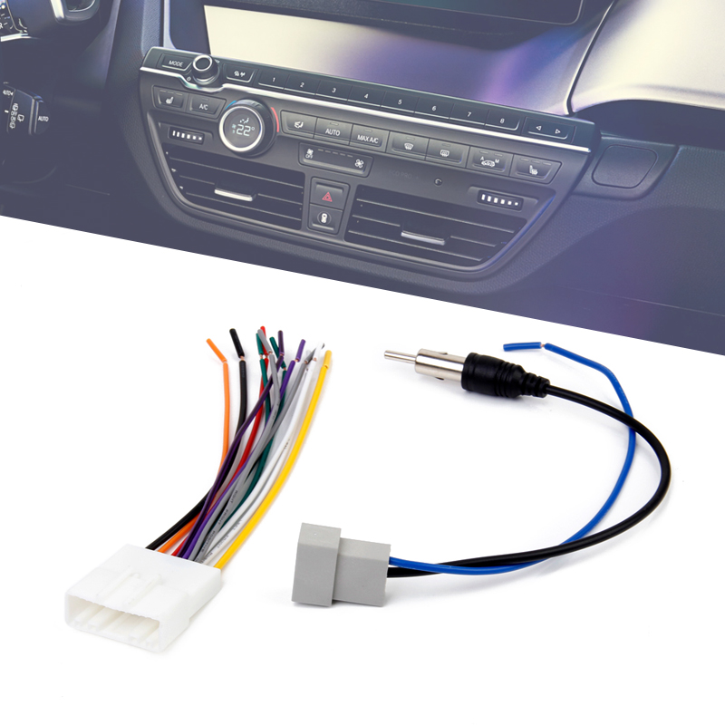 1 Set Car Radio FM Antenna Cable Connector & Stereo Wire Harness For Nissan/LiWei/Qashqai/Sunny/Tiida Etc