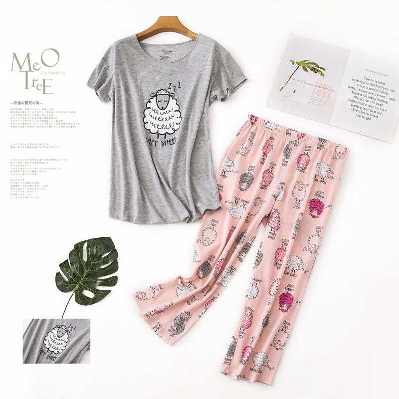 summer women's   pajama     sets   grey pink color with cute sheeps printed round neck calf-length cotton causal   pajama     sets   hot selling