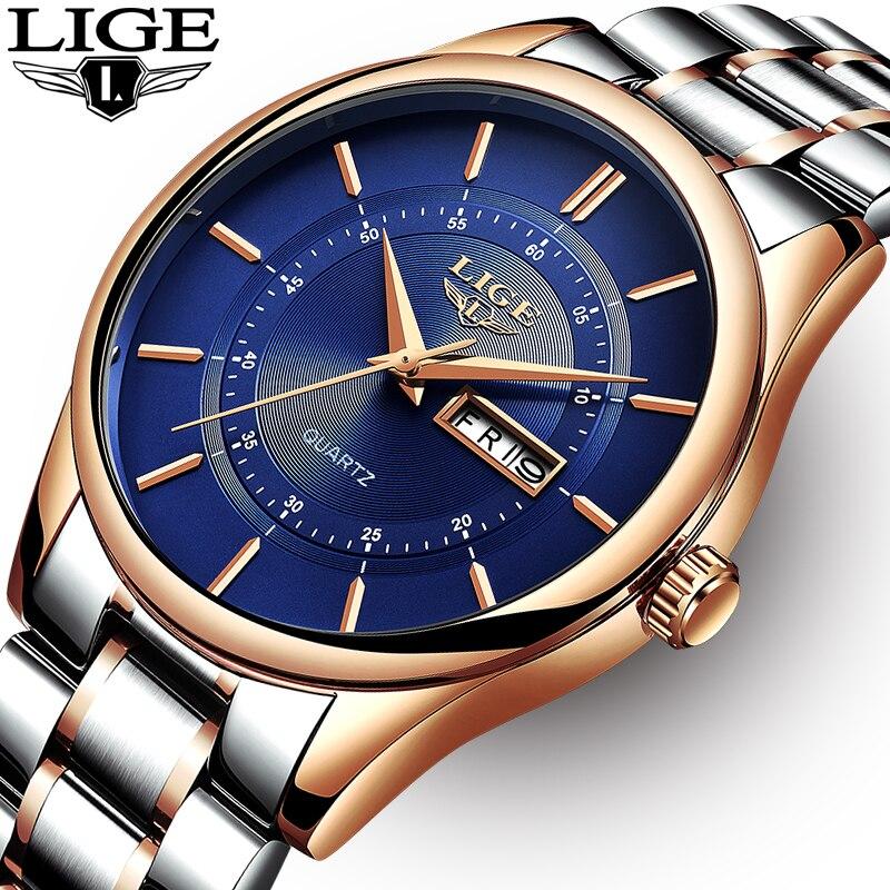 LIGE montre homme 30 m Étanche montres homme Top Marque De Luxe En Acier Montre Chronographe Homme Horloge décontracté sport relojes hombre