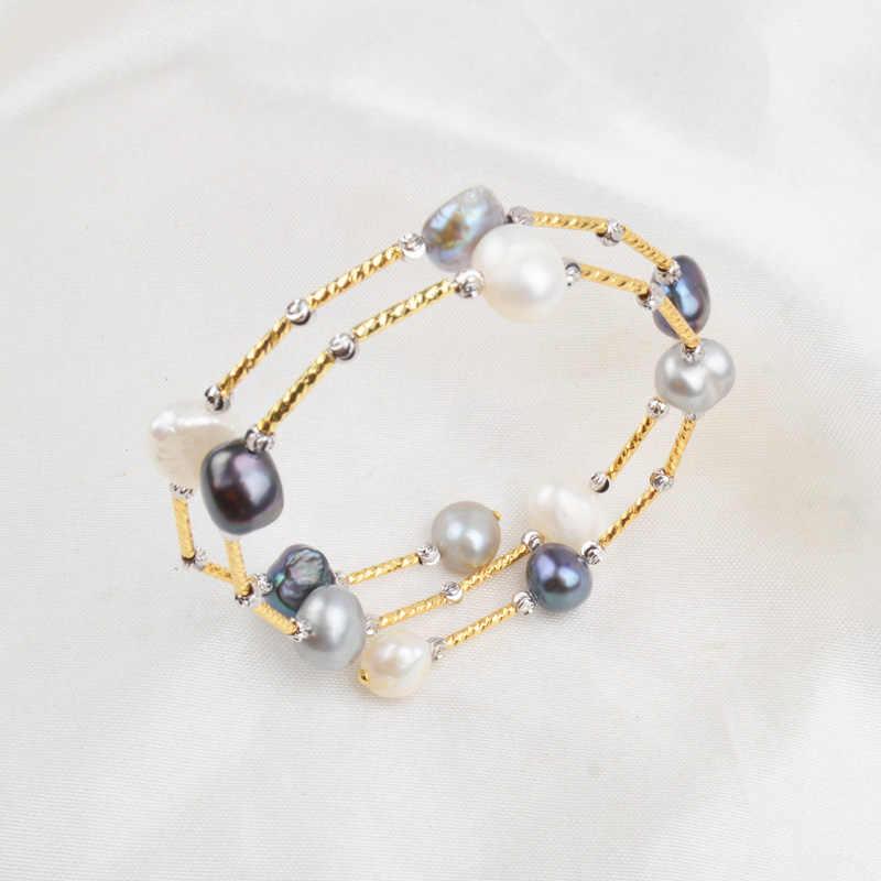 ASHIQI Real Natuurlijke Zoetwater Barok Parel Armbanden en Armbanden Voor Vrouwen Sieraden Gift