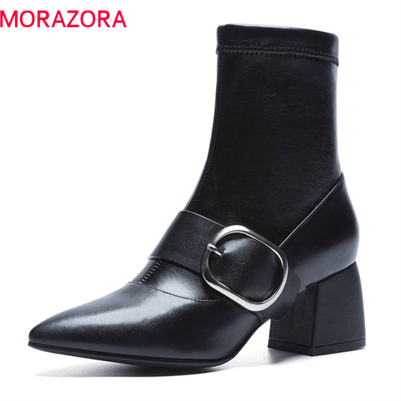 MORAZORA 2018 hot sale boots women genuine leather autumn winter ankle boots slip on buckle fashion punk ladies shoes black women martin boots 2017 autumn winter punk style shoes female genuine leather rivet retro black buckle motorcycle ankle booties