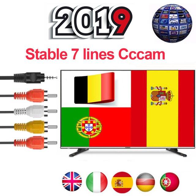 ספרד Cccam 1 שנה פורטוגל גרמניה פולין לווין טלוויזיה מקלט 7 Clines Ccam עבור DVB-S2 V7 v7s V8 קסם V9