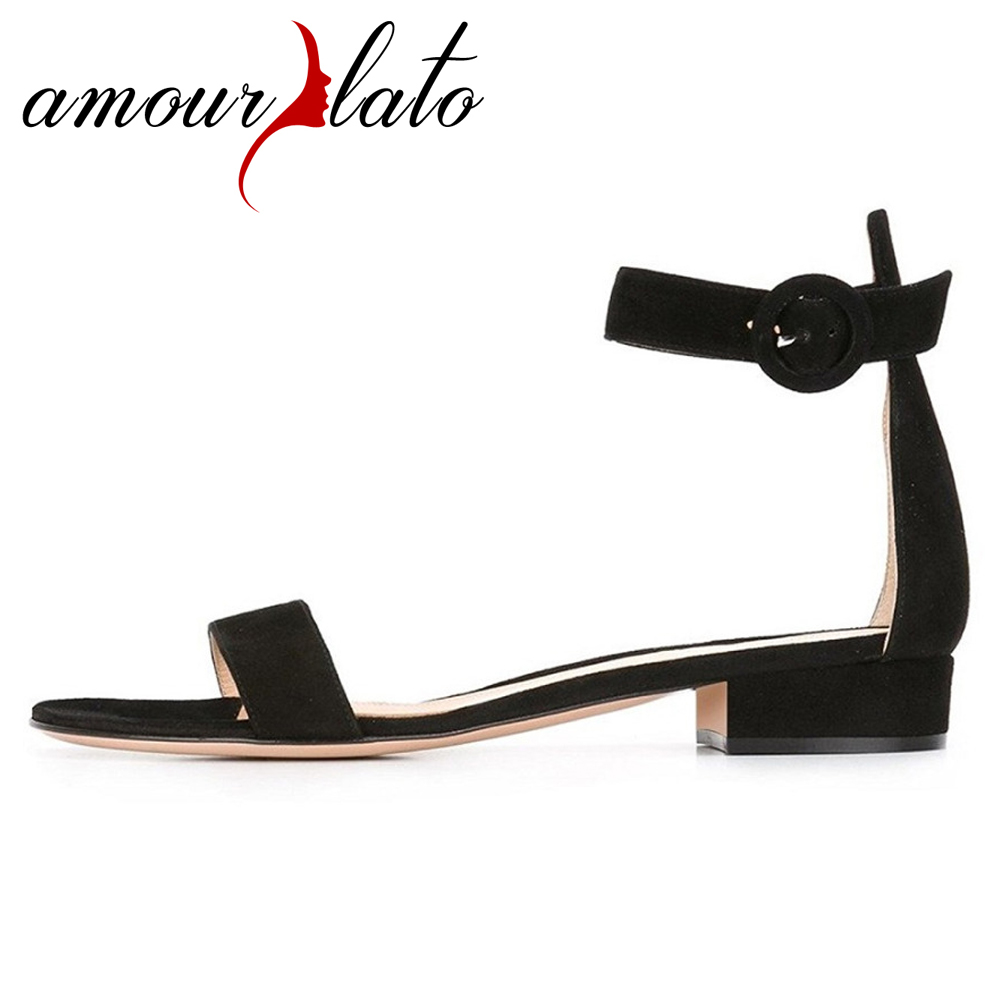 Amourplato Womens Open Toe Sandals 2cm Chunky Heels Ankle Strap Sandal Buckle Closure Handmade Fashion Lady Low Heel Dress Shoes amourplato womens handmade pointed toe ankle wrap flats bridesmaid ballerinas ankle strap flats shoes with buckle size5 13