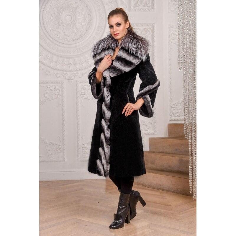 De Avec 100 Manteau Mode Col Noir Rex Naturel Cm En Fourrure Jacke Lapin Pour Hiver Luxe Long Femmes 2018 Renard Argenté Topfur wEqaPgE