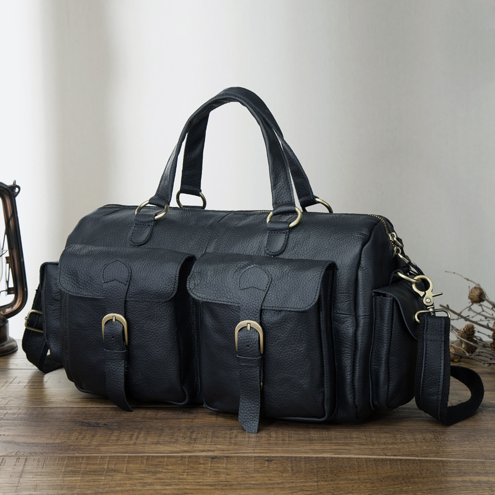 Mens Original Leather Heavy Dudy Designer Travel Briefcase Fashion Portfolio Organizer Tote Laptop Shoulder Messenger Bag 1097-b