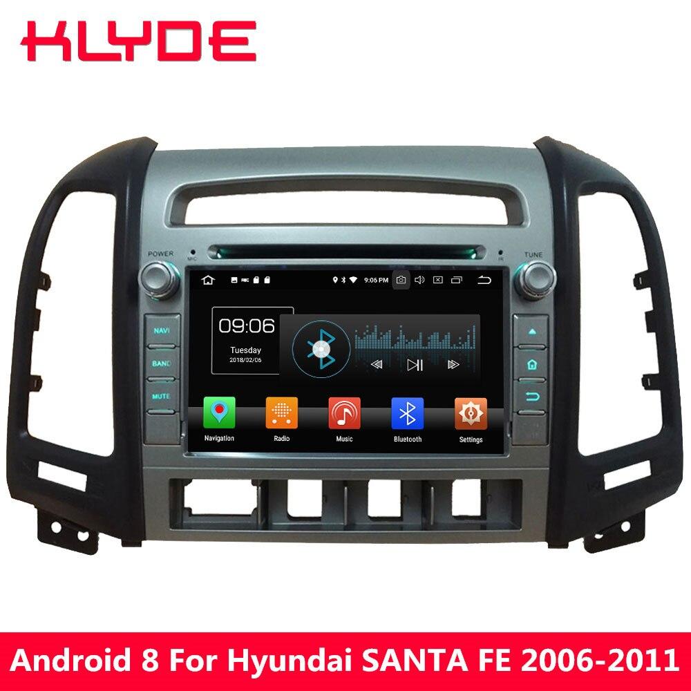 KLYDE 7'' Octa Core 4GB RAM Android 8.0 32GB ROM PX5 4G Car DVD Multimedia Player Radio For Hyundai SANTA FE 4 Hole 2006 2011