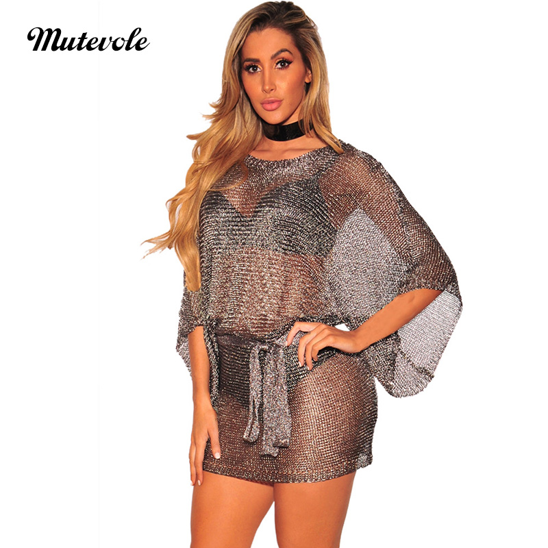 Detail Feedback Questions about Mutevole Women Sexy Club Party See Through  Dress Half Sleeve Transparent Mini Dress Clubwear Mesh Bodycon Perspective  Dress ... 4c5f3a758a68