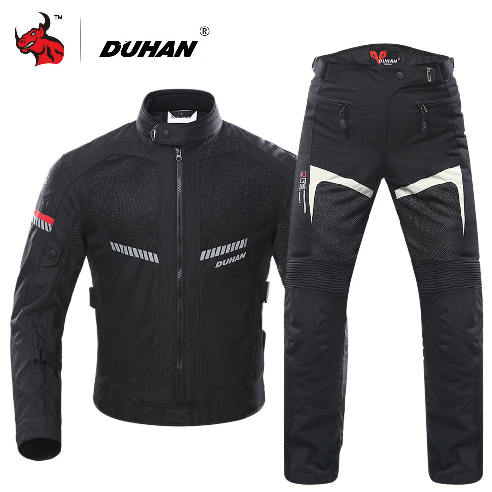 DUHAN Motorcycle Jacket Men Moto Jacket Motobike Protective Gear Breathable Mesh Reflective Motorcycle Motocross Clothing Black duhan motorcycle jacket waterproof moto jacket men s motocross clothing motorcycle suit with elbow shoulder back ce protector
