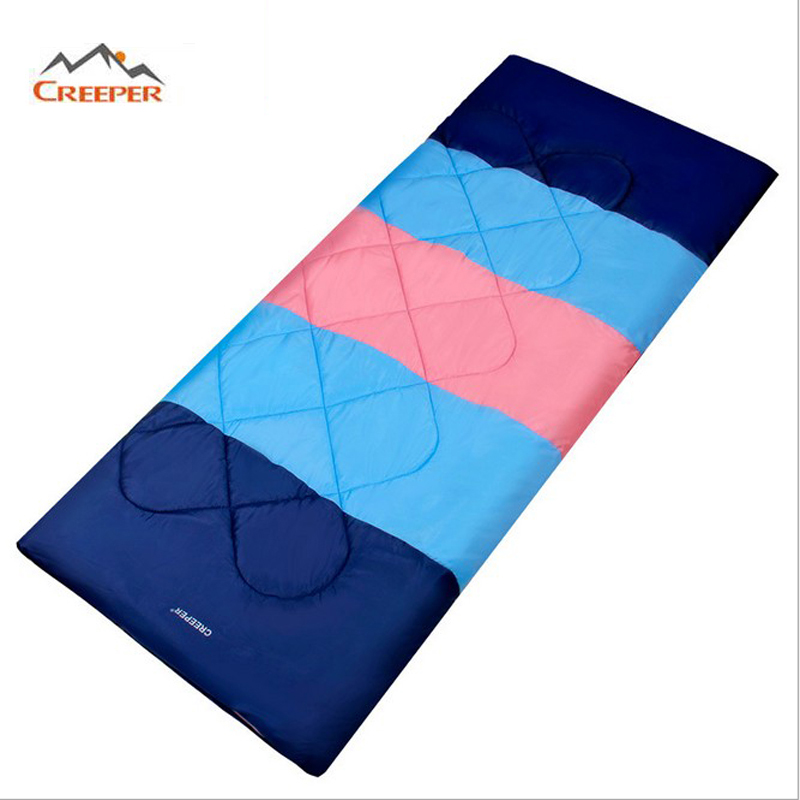 CREEPER Splicing Envelope Double Sleeping Bag for Camping Outdoor Travel Windproof Climbing Hiking Cotton Sleeping Bag outdoor sleeping bag envelope camping travel hiking ultra light four seasons drop shipping